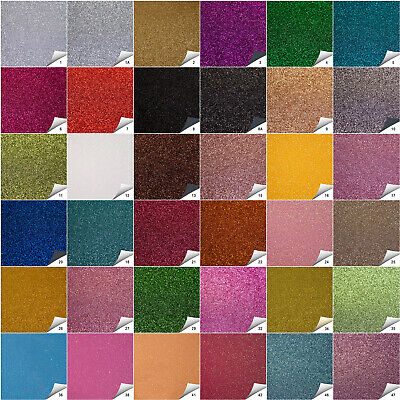 Fine Sparkling Glitter Fabric in A4 & A5 Sheets 50 Colours Hair Bows & Crafts
