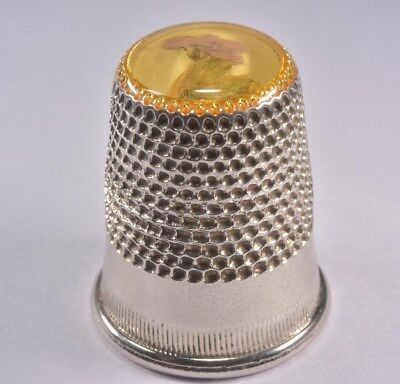 vintage THIMBLE white metal silver coloured with pressed flowers apex