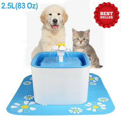 2.5L Automatic Pet Dog Cat Water Drinking Fountain Pet Bowl Drink Water Filt NEW