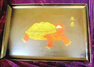 Vintage 1960''s Modernist Inlaid Turtle Tray By Courac.