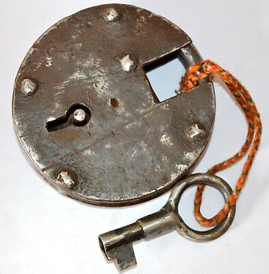 Antique Padlock Locks & Key Hand Crafted Iron Unique Vintage Indian With Key