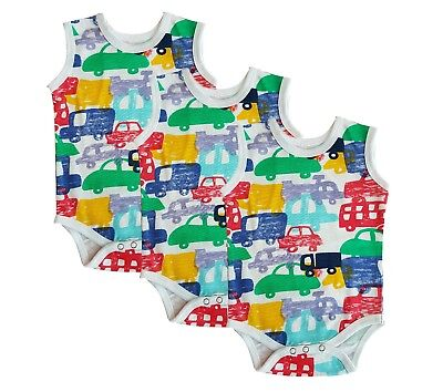 grow 0-24 months pack of 3 or 6 romper new blue striped sleeveless baby vests