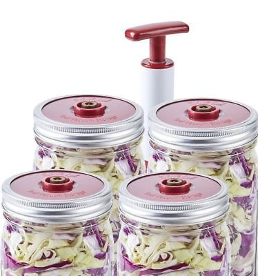 4Pc Lids Set For Wide Mouth Mason Jar With Sealer Extractor Pump Lid Vacuum Seal