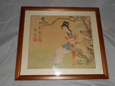 Oriental Japanese Chinese Lady silk / cloth picture