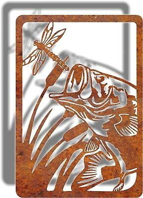 DXF CNC dxf for Plasma  Home Decor Man Cave Metal Vector Fish Bass