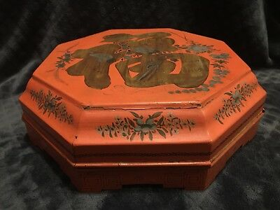 Antique Chinese Export Lacquered Wood Footed Sweetmeat Box Set