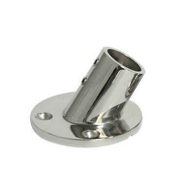 """Boat Hand Rail Fitting 60 Degree 7/8"""" Round Stanchion Base - 316 Stainless Steel"""