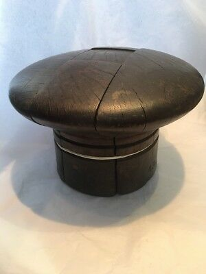 Vintage Antique Millinery Wooden Beret Hat Stretcher Block Stand Former Mould