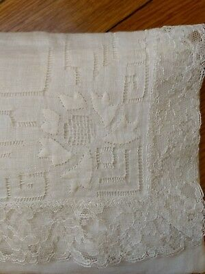 Vintage Handmade Lace Baby Pillow Case Sham For Crib Carriage Doll Ivory