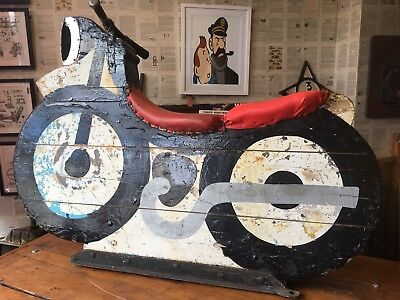 Beautiful Vintage Fairground Mount Ride Motorbike With Light/ Lamp 1950's 1960's