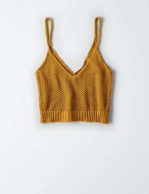 1daf1342ca AMERICAN EAGLE DON T Ask Why Cropped Sweater Tank Mustard -  8.00 ...