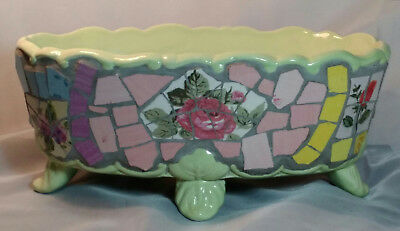 """Planter/Bowl 10½""""  Mosaic Art Floral Signed Maxcera Decorative Collectible"""
