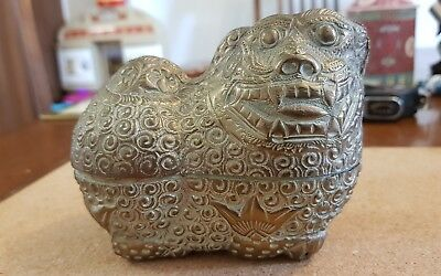 Antique Chinese silver metal Foo Dog shaped box Qing Dynasty?