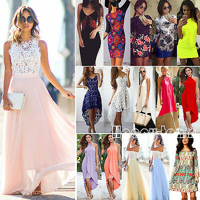 Womens Maxi Boho Long Dress Casual Evening Cocktail Party Wedding Beach Sundress
