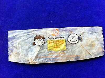 Rare 1969 Dolly Madison Cake Wrapper 5 Gems Peanuts Charlie Brown Package