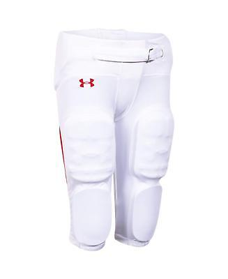 Under Armour Boys Integrated Red Stripe Football Pants 1258516 White M L 2X