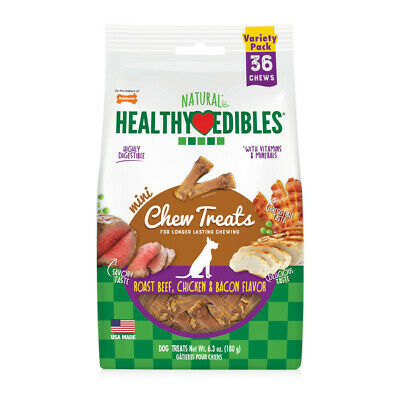Healthy Edibles Mini Souper Roast Beef, Chicken & Bacon Flavored Dog Treat Bones