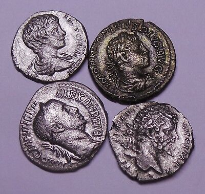 Ancient Roman Imperial Silver Denar Coins LOT - 4 pieces Severian Dynasty