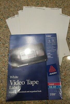 **AVERY ~ 5199 Laser  ink jet VIDEO Tape, 300 Face lables no Spines. **