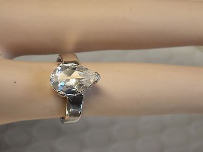 3ct NATURAL white topaz 925 sterling silver ring 4mm band ring size 8 USA