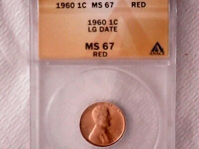 1960 1C Large Date RD Lincoln Cent MS 67