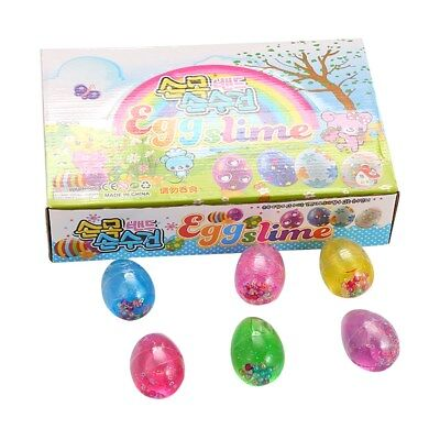 6PCS/Set Colorful Mud Egg Soft Slime Fluffy Pearl Egg Mud Stress Relief Kids Toy