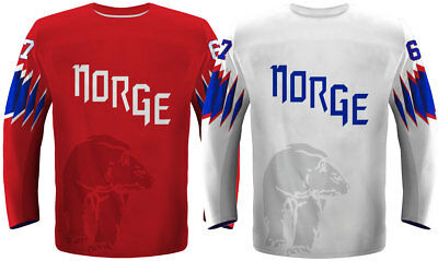2018 Team Norway Ice Hockey Jersey, White/Red, Men/Youth/Women/Goalie sizes
