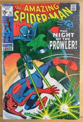 The AMAZING SPIDER-MAN #78 1st Appearance Prowler (1969 MARVEL Comics) LOW GRADE