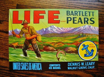 Old Stock, Original...LIFE Brand...Bartlett Pears...Fly Fishing/Trout...Calif.