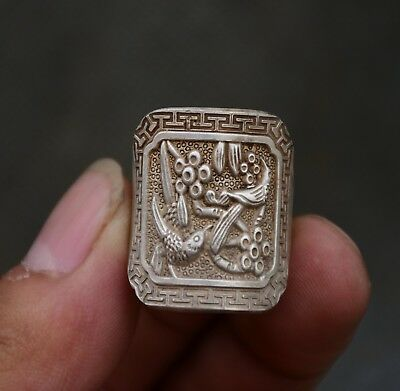 2.5cm Old Chinese Miao Silver Dynasty Flower Birds finger ring Rings