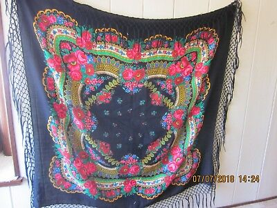 Vintage Tybetki Tybetka Wool Piano Shawl Scarf Stole Hand Printed Colorful Black