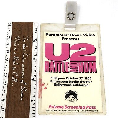 Vtg 1988 U2 RATTLE AND HUM FILM Private Screening Pass Paramount Laminated Badge