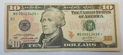 STAR LOW SERIAL NUMBER 2013 $10 Bill American Currency Federal Reserve Note USA