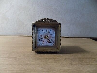 Vintage Antique Brass Clock Floral Print Face Scroll Design Desk Dresser Hutch