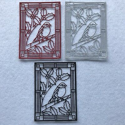 3 Stained Glass Xmas Robin Paper Die Cuts Scrapbooking Card Topper Embellishment