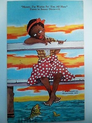 """Vtg.blk. Americana Post Card - Young Black Girl """"down In Sunny Dixie"""" - 1939 -Ex"""