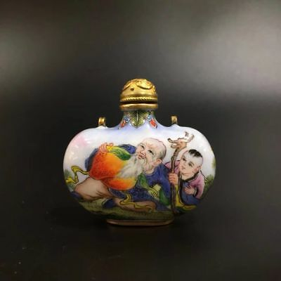 Chinese Antique Cloisonne Hand drawn Children play snuff bottle Qianlong Year