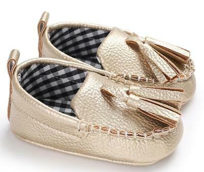 Newborn Baby Boy Girl Gold Pram Shoes Faux Leather PreWalker Trainers 0-18Months