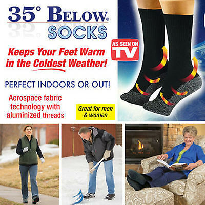 5Pairs,35 Below Socks Keep Your Feet Warm and Dry  Thin Black-L As Seen On TV NE