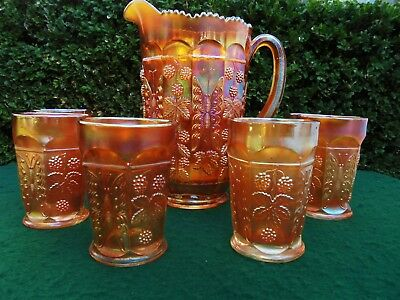 ANTIQUE CARNIVAL GLASS WATER SET BUTTERFLY AND BERRY FENTON c1920 JUG & GLASSES