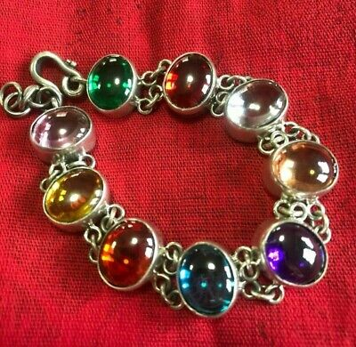 Dragon Naga EYE 9 Color THAI AMULET Sterling Silver Bangle Bracelet CRYSTAL SEX