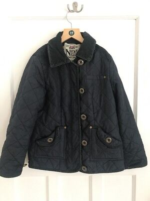 NEXT Girls Quilted Navy Blue Jacket Coat Barbour Style Age 11-12 Yrs