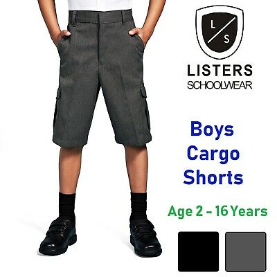 Boys School Cargo Shorts Grey Black Ages 2-16 Years Elastic Waist