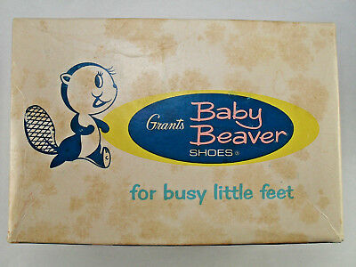 Vintage Grants Baby Beaver Trainers Baby Shoes In Box Size 3 White