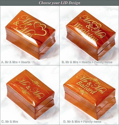 Luxury Mr and Mrs Wooden Double Wedding Ring Box for Ceremony Date Surname Gift
