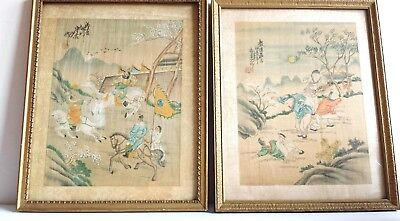 PAIR Antique Chinese Painting On Silk  - Children and Warrior- Framed, Beautiful