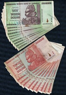 10 x 50 Trillion + 10 x 20 Trillion Dollars Zimbabwe Banknotes AA 2008 Authentic