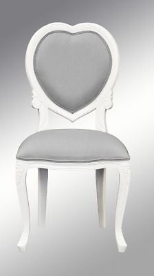 French Louis XV  Bedroom Chair  - White with grey twill upholstery   Medee