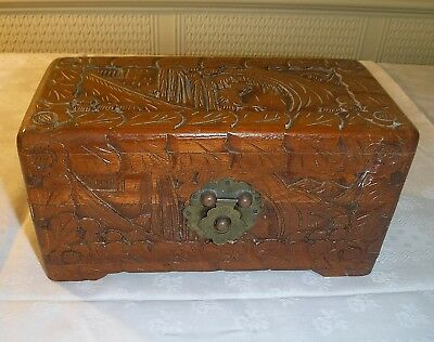 Jewellery Box Size Chinese Coffer Beautifully Carved Camphor Wood Vintage