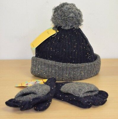 John Lewis Flecked Knitted Kids Warm Gloves Mittens Bobble Hat in Navy Grey